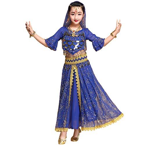 Traje de Danza del Vientre Lentejuelas Danza India Halloween Carnaval Disfraz Vestido de Rendimiento Set Azul-2-piezas Set/XL