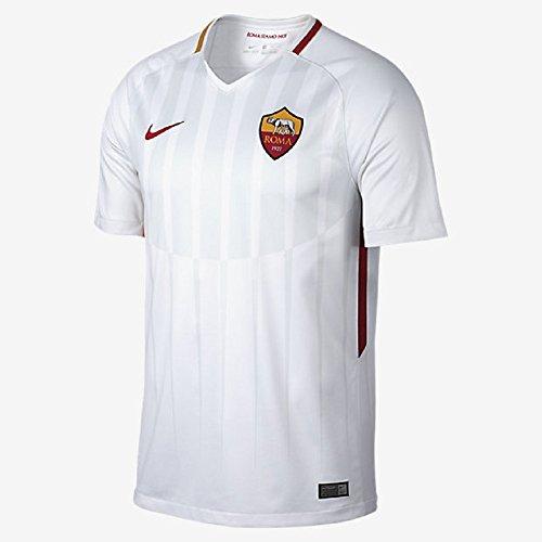 NIKE M NK BRT STAD JSY SS AW Camiseta 2ª equipación AS Roma 17-18, Hombre, Blanco (White/Off White/Team Crimson), L