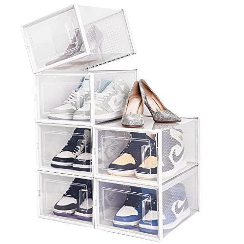 Paquete de 6 Cajas de Zapatos, Caja de Almacenamiento de Plástico Transparente, 35×25×18.7 cm por Casillero, Transpirable y a Prueba de Polvo, Multifuncional para Zapatos, Ropa, Accesorios