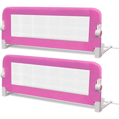 vidaXL 2x Barras de Seguridad para Cama Niño Rosa 102x42 cm Mueble Infantil