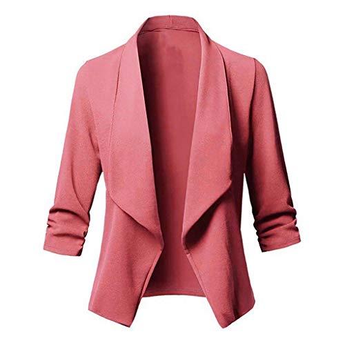 Damen Sakko Cardigan Elegant Blazer Leicht DüNn LäNgere Leichte Jacke Fließt Wunderbar Und Ist SchöN Leicht Locker Fallendes zu Jeans T-Shirt Aber Auch zur Edlen Anzughose Pumps (5XL, Rosa)