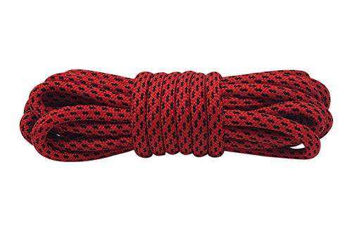 Lakeland Active Cordones Redondos de Bota Montaña, Zapatos Senderismo, Resistente y Fuerte - 120-200cm - ø 4.5 mm - Rojo-Negro - 120 cm (2 pares)