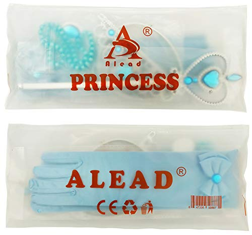 Alead Elsa Princess Dress Up Accessories Gloves Bow Tiara Crown Wand Necklaces Presents for Kids Girls