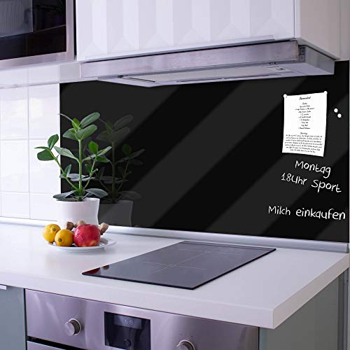banjado Glas Nischenrückwand für Küche 100cm x 50cm | Küchenrückwand Tiefschwarz | Spritzschutz selbstklebend ohne Bohren | Fliesenspiegel magnetisch und beschreibbar