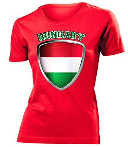 Ungarn Magyarország Hungary Fan t Shirt Artikel 3328 Fuss Ball World Cup Jersey EM 2020 WM 2022 Trikot Look Flagge Fahne Team Frauen Damen Mädchen XXL