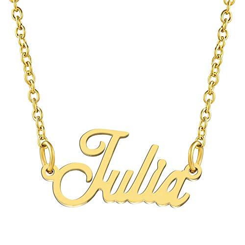 KISPER 18K Gold vergoldet Edelstahl personalisierte Name Anhänger Halskette, Julia