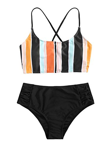 SweatyRocks Women's Bathing Suits Striped Criss Cross Bikini Set High Waisted Swimsuits Multicoloured XS