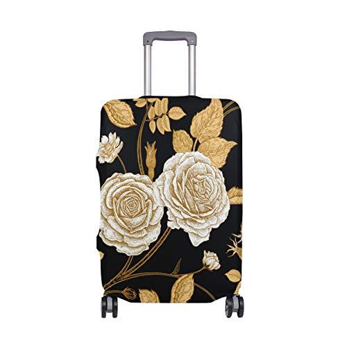 Orediy - Valigia trolley vintage con stampa floreale dorata elastica da viaggio (senza valigia) S M L XL Taglia, Multi (Multicolore) - suitcasecover