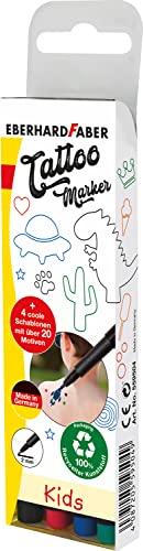 Eberhard Faber 559504 - Tattoostifte Set Kids mit 4 Markern in unterschiedlichen Farben und 4 Schablonen, im Etui, abwaschbar, dermatologisch getestet, zur kreativen Gestaltung der Haut