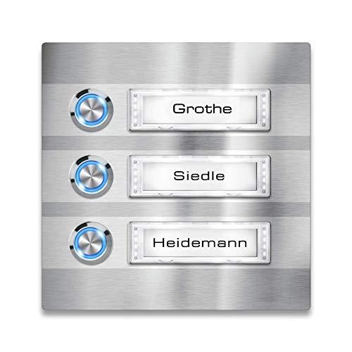 Metzler Türklingel - 3-fach Klingelplatte aus Edelstahl - Namensschild austauschbar - mit LED-Taster und Beleuchtung (optional) (Namensschild mit Beleuchtung, LED-Taster Blau)