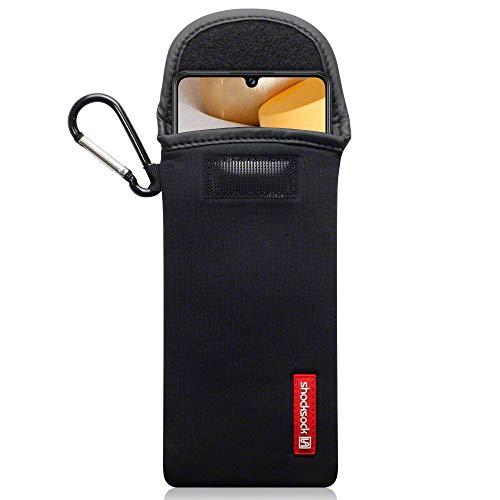 shocksock, Kompatibel mit Samsung Galaxy A42 5G Neopren Tasche mit Carabiner Hülle - Schwarz