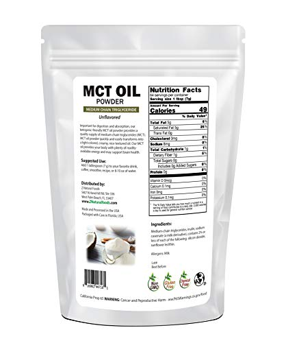 MCT Oil Powder - Unflavored Keto Coffee Creamer for Instant Energy & Endurance - Perfect Fat Supplement for Ketogenic Diet - Mix in Tea, Smoothies, Shakes & Recipes - Non GMO & Gluten Free - 1 lb 3
