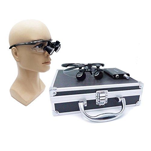 BoNew - Lupas de cristal quirúrgico (2,5 x 420 mm, distancia de funcionamiento con 3 W, luz LED de cabeza, caja de...