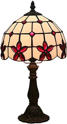 Lámpara de mesita de mesa de mesa ámbar de estilo de tiffanía mediterráneo de 20 cm lámpara de dormitorio-Base de resina_rojo