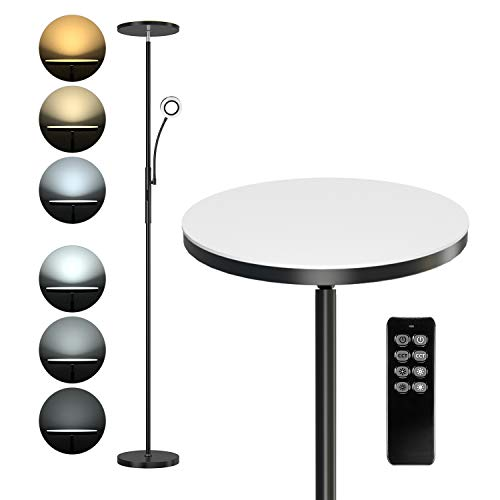 Anten Soarz II 30W LED Deckenfluter Stehlampe mit 5W separat schaltbarem Lesearm,mit stufenlos verstellbarer Lichtstärke,für Wohnzimmer, Schlafzimmer, Büro, Arbeit mit Fernbedienung (Mattschwarz)