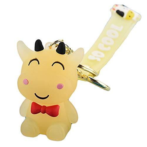 ZXDDD Lächelnde Cartoon Kalb Schlüsselanhänger Kleine schöne Kuhharz Schlüsselanhänger Dekorative Anhänger Ornamente für Frauen Männer Mädchen Jungen,Gelb