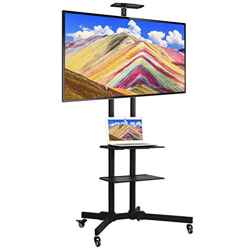 Yaheetech Mobile TV Cart for 32in to 65in LCD LED Plasma Flat Panel Screen TVs,Height-Adjustable Rolling TV Floor Stand up to 110 lbs w/ 2 Storage Shelves & Lockable Wheels, Max VESA 600x400mm
