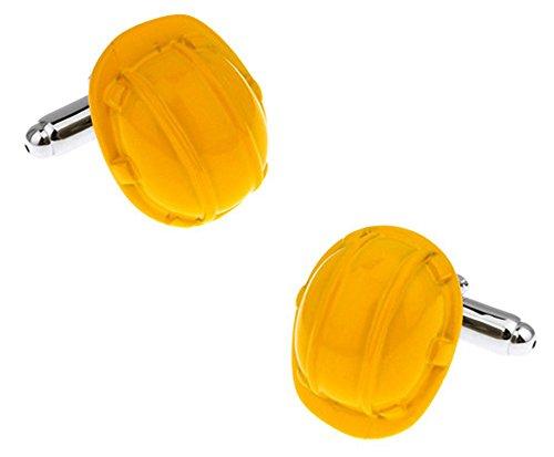 Ashton and Finch Gemelos de Cascos Amarillos de Builders en una Caja de presentación Novedad Arquitectos Construcción Trabajo Tema Joyas