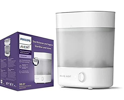 Philips Avent SCF291/00 Sterilizzatore a vapore capacità, 6 biberon, tettarelle e accessori, design modulare - bianco