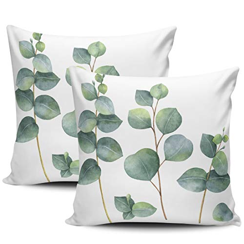 KELEMO Home Set of 2 Pillow Case Watercolor Dollar Eucalyptus Leaves and Branches Throw Pillow Covers Cushion Decorative Pillowcase Doubled Sided Print Square 16 x 16 Inches