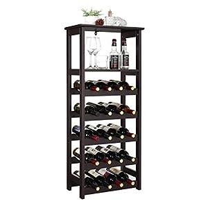 VASAGLE 20 Wooden Wine Rack, Free Standing Bottles Display Storage...