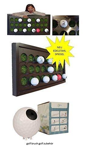 Golfball Setzkasten für 27 Golfbälle mit Kunstrasen spiegelpoliertes Edelstahl + Golf Brush Golfschläger Reiniger reinigung inkl. Wandhalterung