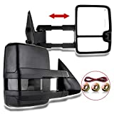 cciyu Tow Mirrors Car Mirrors LH Left RH Right Black Towing Mirrors Compatible with 1999-2002 Chevy Silverado GMC Sierra 1500/2500 with Power Adjusted Heated LED Turn Signal Light