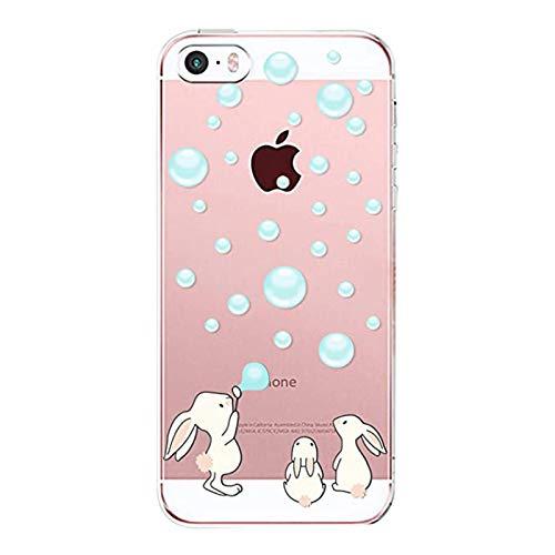 Aisoar - Carcasa para iPhone SE, carcasa iPhone 5S, iPhone 5, silicona, transparente, suave, ultra fina, de gel de protección antigolpes Bunny M