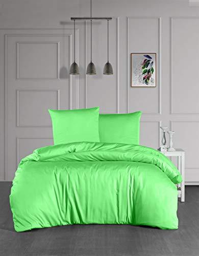 Ropa de cama Mako Maco Satén Algodón Satén Ropa de cama Funda nórdica 135 cm x 200 cm, Color Verde manzana