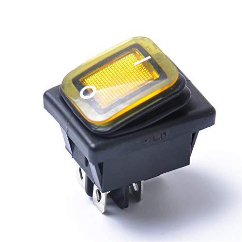Relé de interruptor automotriz El interruptor de Rocker del impermeable de 12v 4pin con lámpara corta DPST para automóviles y dispositivos equipados con bote de fuente de energía DC (Color : Yellow)
