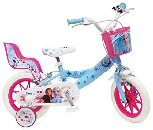 Disney - Bicicletta da 12' Frozen 2 (Frozen II) dotata di 2 freni, cestino anteriore e porta bambola posteriore + 2 stabilizzatori rimovibili da bambina, colore: Azzurro cielo bianco e fucsia