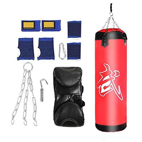 VGEBY1 Saco de Boxeo, Guantes de Boxeo MMA Muay Thai Kick Boxing Artes Marciales con Soporte Pared Cadena Guantes Punching Bag(60CM-Rouge)