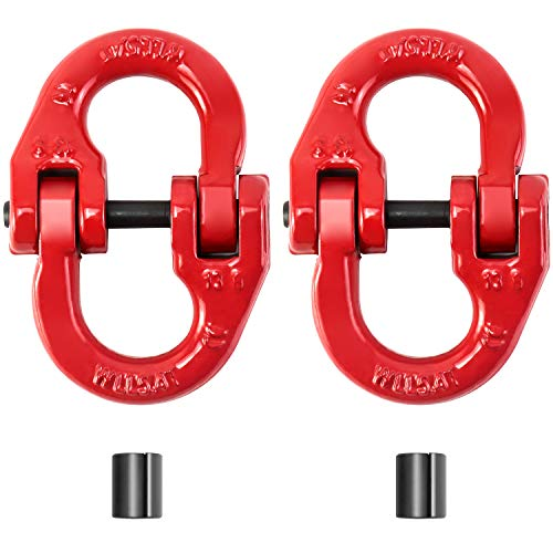 """QWORK G80 Alloy Steel Hammerlock Coupling Link Connecting Link, 1/2"""", Red Painted, 12000 lbs Working Load Limit,2 Pack"""