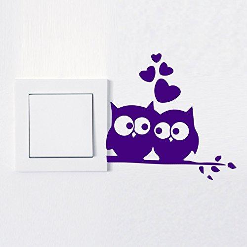 Wandtattoo in deiner Wunschfarbe Aufkleber Lichtschalter Eule Love Steckdose verliebt 10x9 cm Wand Aufkleber Sticker