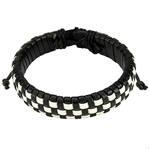 Black and White Checker Weaved Layers Leather Bracelet with Drawstrings