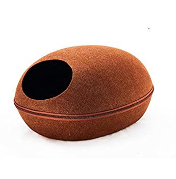Weimay Maisons et Dômes pour Chats,2 en 1 Niches Maison d'animal Familier,Machine Lavable Pliable Lit du Cat,Trou du Chat Doux Chaud Nid Grotte Maison Lit avec Coussin Amovible