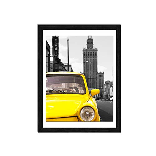 Emeyart 12x16 Picture Frames to Display 11x14 Documents with Mats Black Real Wood Photo Frames Wall Art Decorative for Living Room and Office Wall Decor