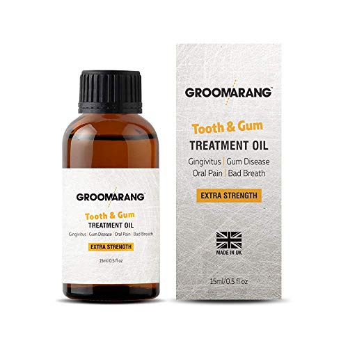 Groomarang Gum Disease Treatment Oil for Gingivitis, Bad Breath & Oral Pain - Made from 100% Pure Botanical Oils (Extra Strength) 15ml