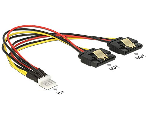 DeLock Kabel Power Floppy 4 Pin Stecker > 2 x SATA 15 Pin Buchse Metall 20 cm