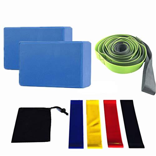 SUSHUN Juego de 8 piezas de equipo de yoga con bloques de yoga, banda de resistencia para estiramiento, color azul