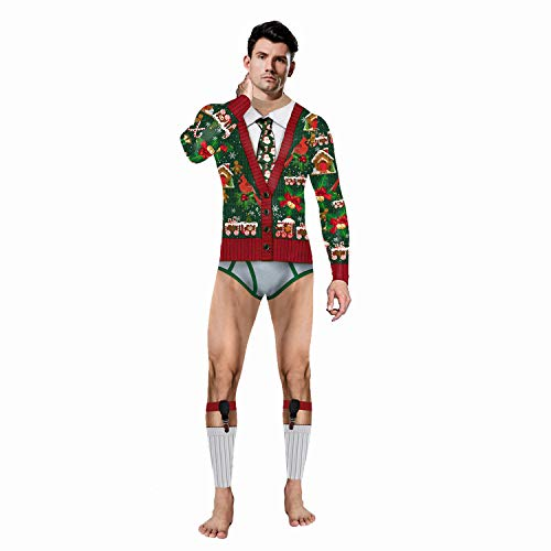 eBoutik - Ugly Christmas Jumpsuit Party Kostüm Einteiler Festlich Overall Bodysuit Gr. One size, Rot Weiß Bue Grün Orange