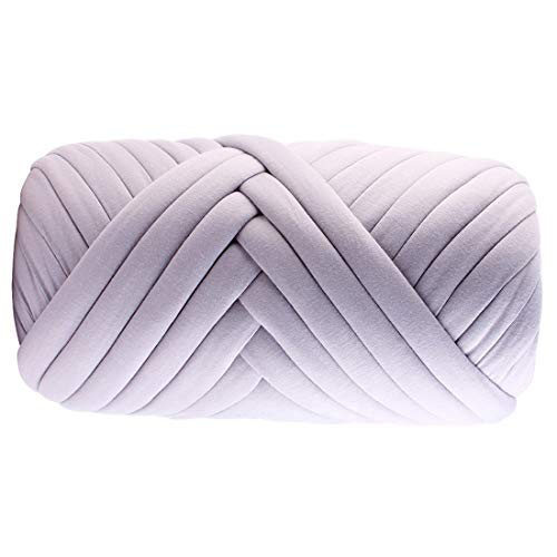 Grey 3.5lbs Super Bulky Heavy Braid Thick Cotton Threads Supre Large Arm Knitting Chunky Yarnfor DIY Handmade Blankets pet beds (Grey, 3.5lb)