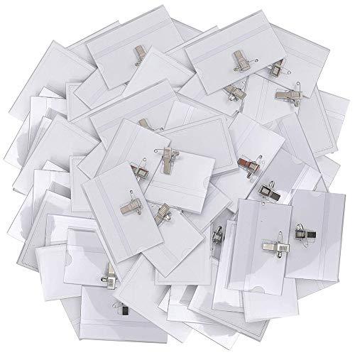 BESTZY 50PCS Porta Tarjetas Identificativas Transparente Tarjeta de Identificación Horizontal Badge Holder con Pins Imperdible y Pinza Profesional Oficina Nombre