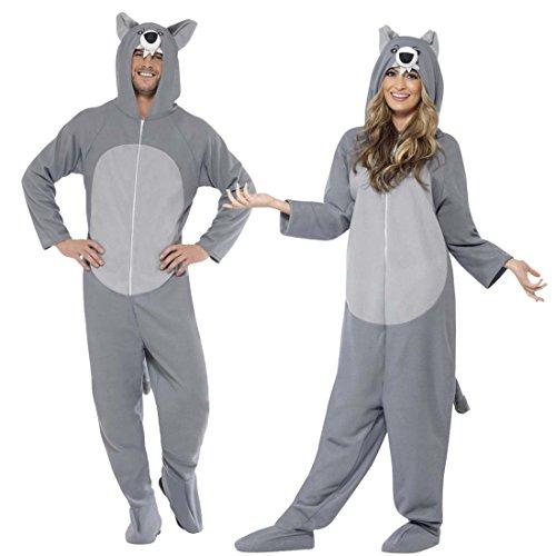 NET TOYS Grau-weißes Wolfkostüm Jumpsuit Wolf L Ganzkörperkostüm Unisex Ganzkörperanzug Partywolf Tierkostüm Wolfsfell Wolfskostüm Erwachsene