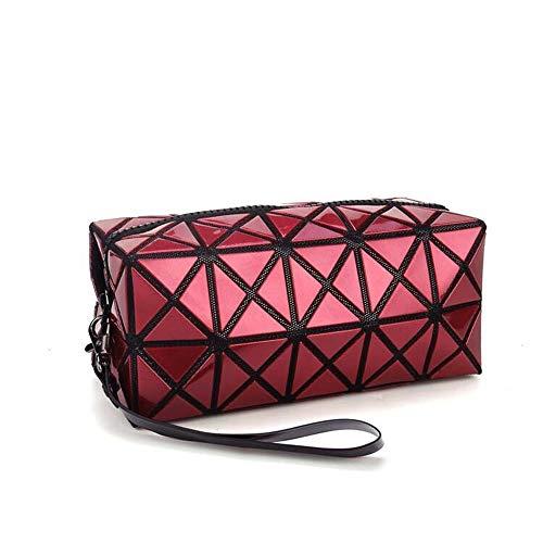 1bolso plegable para mujer, con diseños de rombos, de piel sintética, en forma de cubo, para maquillaje o como bolso de mano Drak Red
