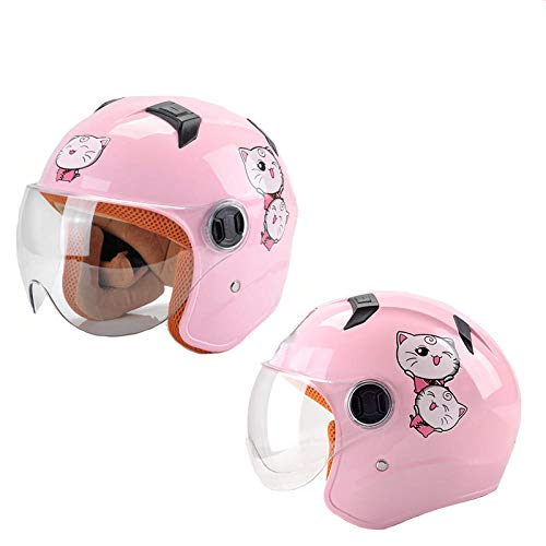 HNLong Kinderbatterie Motorradhelm Jungen und Mädchen halber Helm niedlicher Sommerhelm transparenter Kurzfilm-Pink Big Head Cat_48-56cm