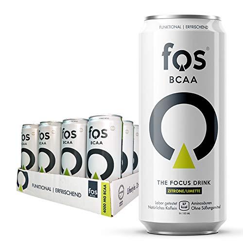 24x fos BCAA Drink   VEGAN   Zitrone/Limette   Nahrungsergänzungsmittel mit Fruktose, Koffein, Vitamin C & Am