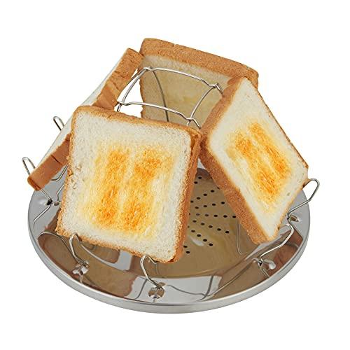 ConBlom Edelstahl Toast Regal Camping Toaster, Poröse Tablett Brot Toaster, 4 Scheiben Faltbare Standbrot Toast Regal für Familien Outdoor Camping Picknick