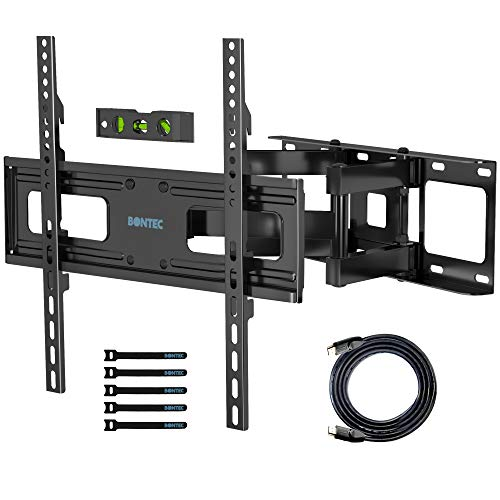 TV Wall Mount Full Motion Bracket for Most 23-65 Inches Flat & Curved TVs, TV Mount Dual Articulating Swivels Rotation Arms with Max Load 99 lbs & Max VESA 400x400mm
