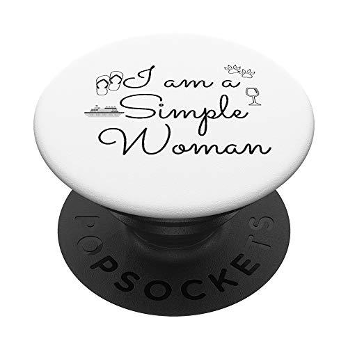 Divertido soy una mujer simple crucero vino perro chanclas PopSockets PopGrip: Agarre intercambiable para Teléfonos y Tabletas